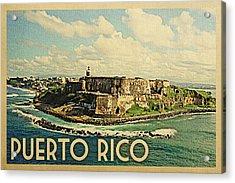 Puerto Rico Travel Poster - Vintage Travel Acrylic Print by Flo Karp