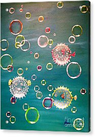 Puffer Fish Bubbles Acrylic Print