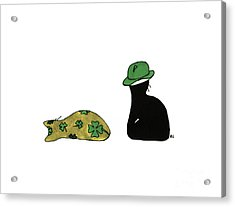 Acrylic Print featuring the drawing Puffie And Muffie St. Patrick's Day by Rachel Lowry