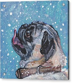 Acrylic Print featuring the painting Pug In The Snow by Lee Ann Shepard