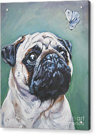 Pug With Butterfly Acrylic Print
