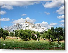 Puglia White City Ostuni With Olive Trees Acrylic Print