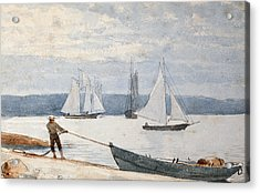 Pulling The Dory Acrylic Print by Winslow Homer