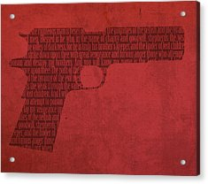 Pulp Fiction Quote Typography In Gun Silhouette Acrylic Print