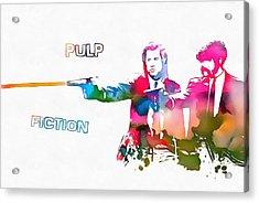 Pulp Fiction Watercolor Paint Splatter Acrylic Print by Dan Sproul