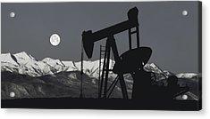 Pump Jack Moonlight B W Acrylic Print by Daniel Hagerman