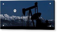 Pump Jack Moonlight Acrylic Print by Daniel Hagerman