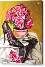 Acrylic Print featuring the painting Pumped Azalea by Laura Aceto