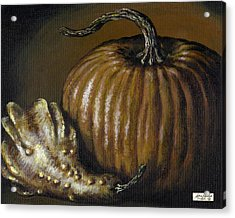 Pumpkin And Winged Gourd Acrylic Print by Adam Zebediah Joseph