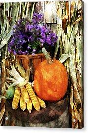 Pumpkin Corn And Asters Acrylic Print by Susan Savad