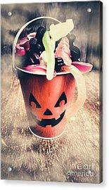 Pumpkin Head In A Misty Halloween Scene Acrylic Print