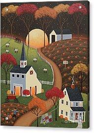 Pumpkin Moon Acrylic Print by Mary Charles