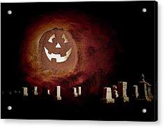 Pumpkin Moon Over Floating Gravestones Acrylic Print