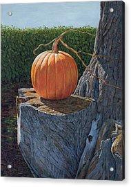 Pumpkin On A Dead Willow Acrylic Print