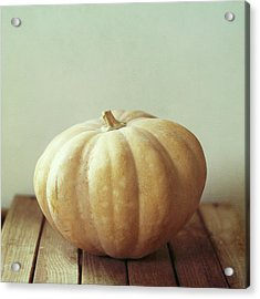 Pumpkin On Wooden Table Acrylic Print
