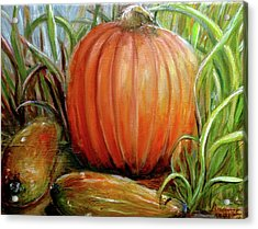 Acrylic Print featuring the painting Pumpkin Patch  by Bernadette Krupa