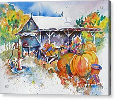 Acrylic Print featuring the painting Pumpkin Time by Mary Haley-Rocks