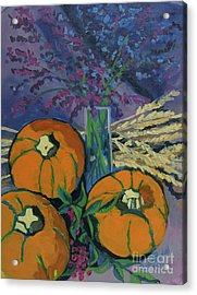 Acrylic Print featuring the painting Pumpkins And Wheat by Erin Fickert-Rowland