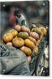 Acrylic Print featuring the photograph Pumpkins In The Cart  by Charuhas Images