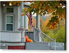 Pumpkins On A Vermont Porch Acrylic Print by Catherine Sherman