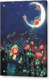 Pumpkins On The Moon Acrylic Print