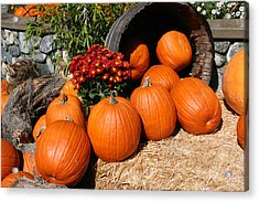 Acrylic Print featuring the mixed media Pumpkins- Photograph By Linda Woods by Linda Woods