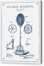 Punching Apparatus Patent Drawing From 1895 -  Blue Ink Acrylic Print
