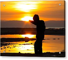 Punching The Sun Acrylic Print by RKAB Works