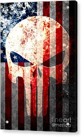 Punisher Skull And American Flag On Distressed Metal Sheet Acrylic Print