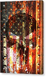 Punisher Skull On Rusted American Flag Acrylic Print