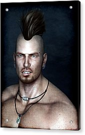 Acrylic Print featuring the painting Punk Portrait by Maynard Ellis