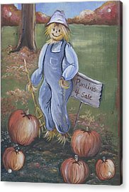 Acrylic Print featuring the painting Punkins For Sale by Leslie Manley