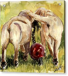 Acrylic Print featuring the painting Puppy Butts by Molly Poole