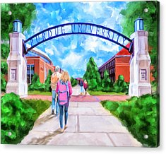 Acrylic Print featuring the mixed media Purdue University - Gateway To The Future Arch by Mark Tisdale