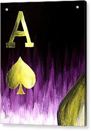 Purple Aces Poker Art4of4 Acrylic Print by Teo Alfonso