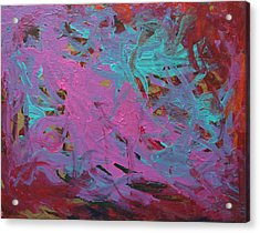 Purple  And Aqua Acrylic Print by Kitty Hansen