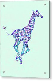 Acrylic Print featuring the digital art Purple And Aqua Running Baby Giraffe by Jane Schnetlage