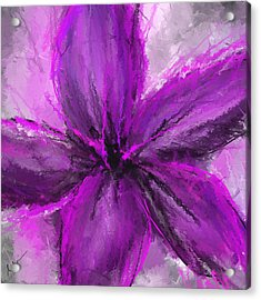 Purple And Gray Art Acrylic Print by Lourry Legarde