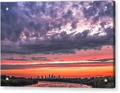 Purple And Red Sky Over Warsaw And Vistula River Acrylic Print