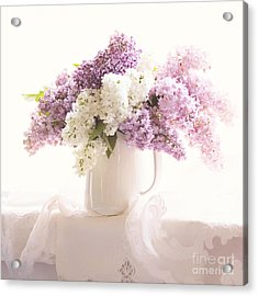Acrylic Print featuring the photograph Purple And White Lilacs Still Life by Sylvia Cook