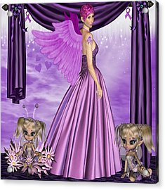 Acrylic Print featuring the digital art Purple Awareness by Digital Art Cafe