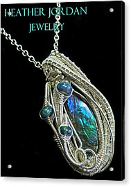 Purple Blue And Green Ammolite Wire-wrapped Pendant In Sterling Silver With Ethiopian Opals Amltpss3 Acrylic Print