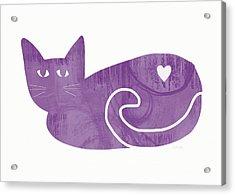 Purple Cat- Art By Linda Woods Acrylic Print