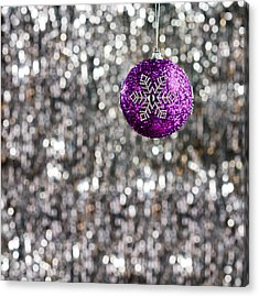 Acrylic Print featuring the photograph Purple Christmas Bauble  by Ulrich Schade