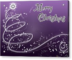 Purple Christmas Card Acrylic Print by Lisa Knechtel