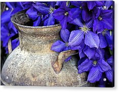 Purple Clematis And A Milk Can Acrylic Print by James Steele