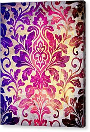 Purple Damask Pattern Acrylic Print