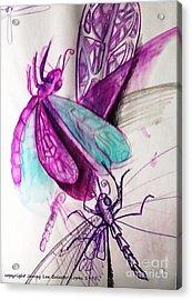 Purple Dragonflies Acrylic Print by Jamey Balester