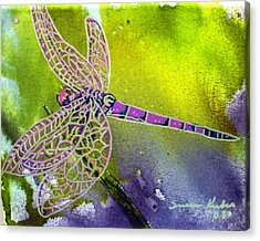 Purple Dragonfly Acrylic Print by Susan Kubes