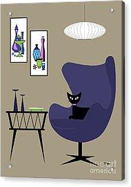 Purple Egg Chair With Gravel Art Acrylic Print